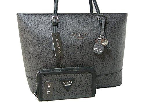 dcdd7943a3a New Guess G Logo Purse Tote Hand Bag   Zip Wallet 2 Piece Matching Set Black