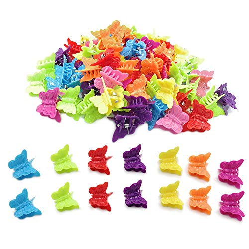 Butterfly Clips for Hair,100 Pack Assorted Color Beautiful Mini Butterfly Hair Clips for Girls and Women By Focut