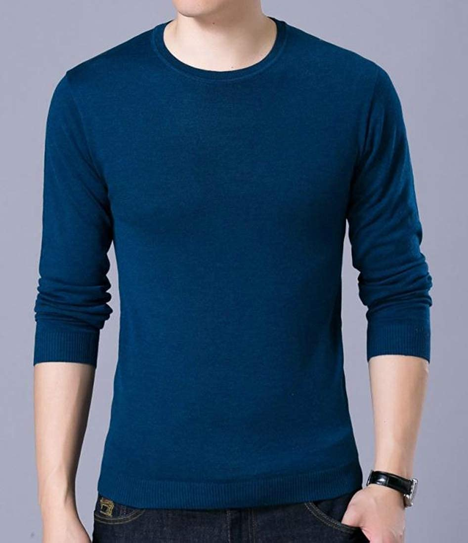 XiaoTianXinMen XTX Mens Pullover Jumper Solid Thermal Knitted Slim Fit Sweater
