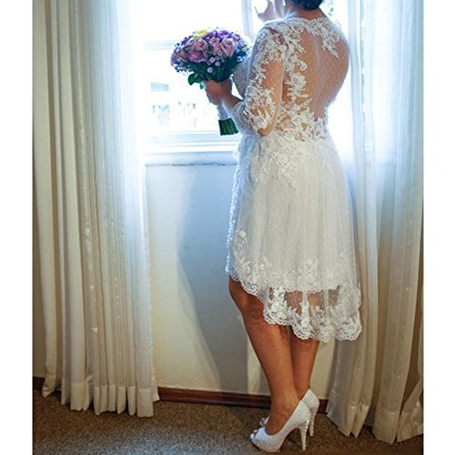 Liliesdresses Women\'s Hi Lo Tea Length Bridal Gown 3/4 Sleeves Applique  Garden Dress Plus Size Wedding Dress White 24