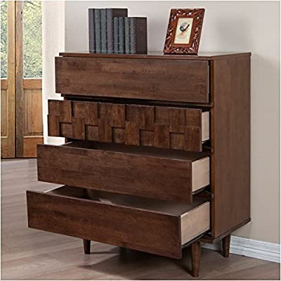 Devonshire 4 Drawer Chest Dresser, Made with Sturdy Rubberwood and Wood Veneers