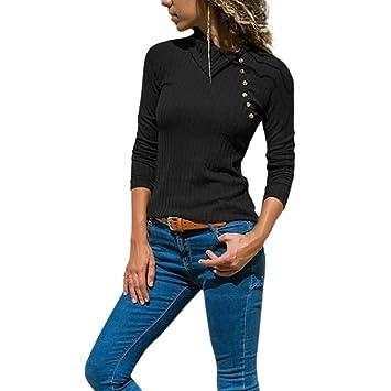 ❤ Modaworld Blusa Basic Mujer Suéter Delgado de Manga Larga con Cuello de Solapa para Mujer Jersey Camisetas Mujer Tops Vestir Camisas Señoras Tops ...