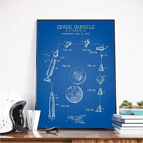 スペースカプセルパテントキャンバス、アートポスタープリントスペースロケット青写真壁アート画像絵画、オフィスウォールアートインテリア男の子ギフト60×90センチなしフレーム