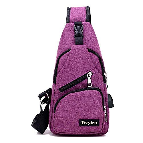 Aoligei Toile USB chargeur poitrine Backpack Sac masculin sac version coréenne occasionnels poitrine mâles et femelles épaule Messager hommes sac B