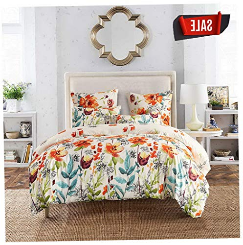 ft Kids Twin Set, Premium Microfiber, Colourful Floral Pattern On Comforter Cover-2pcs:1x 1x Pillowcases,with Zipper Closure (Twin) | Style 503195131 ()