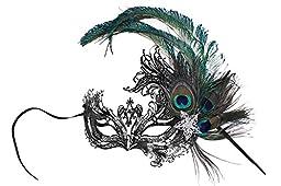 Veronica Laser-Cut Metal Black Venetian Women\'s Masquerade Mask w/Peacock Feathers