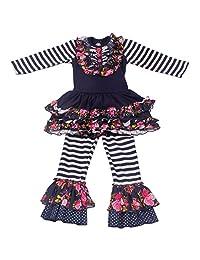 Baby Girls Flower Print Ruffle Long Sleeve Dress Pants Set 2PCS Kids Outfit