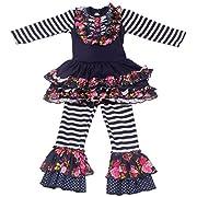 Yliyang Baby Girls Flower Print Ruffle Long Sleeve Dress Pants Set 2 Piece Kids Outfit 12-18M