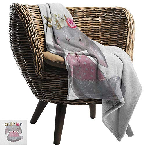 - AndyTours Travel Blanket,Kids,Young Girl Summer Hare in Oil Painting Style with Flowers on Her Head Pink Cheeks, Multicolor,Cozy Hypoallergenic, Easy to Carry Blanket 35