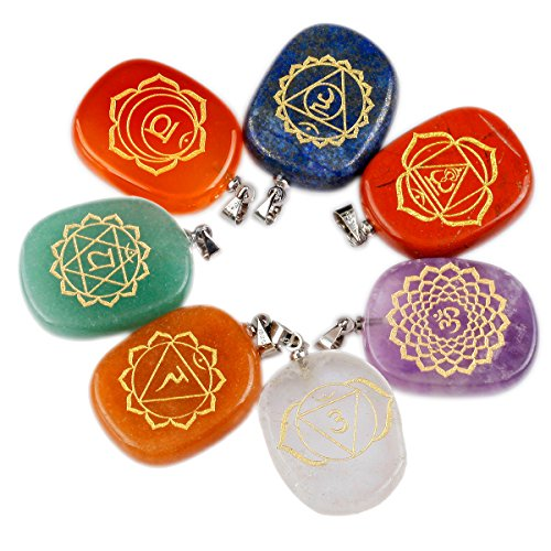 SUNYIK Healing Crystal with Engraved Chakra Symbols Pendant Necklace,Reiki Balancing Palm Stone Pack of 7 from SUNYIK