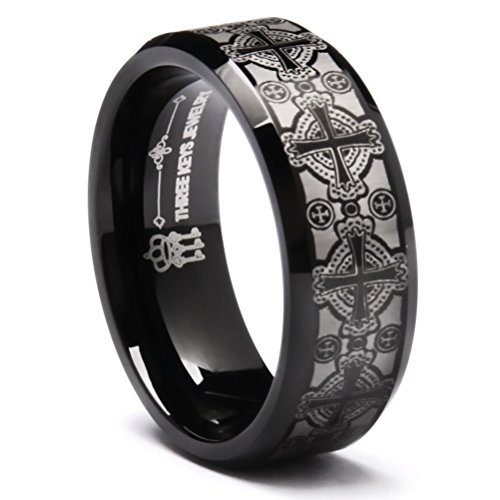 Three Keys Jewelry 8mm Laser Matte Frost Celtic Crosses Tungsten Ring Black Beveled Edge Men's Wedding Band Promise Ring Size 8