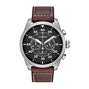 Citizen Eco-Drive Men's Stainless Steel Leather Avion Watch