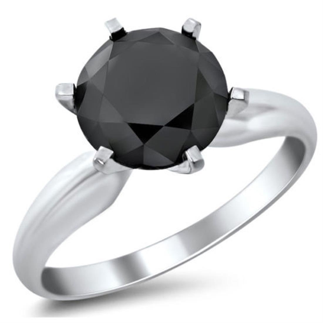 Skyjewels 5 Ct Certified Black Diamond Solitaire Designer Ring in Sterling Silver