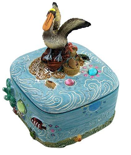 Decorative Pelican Ocean Trinket Jewelry Box, 3 1/2 Inch
