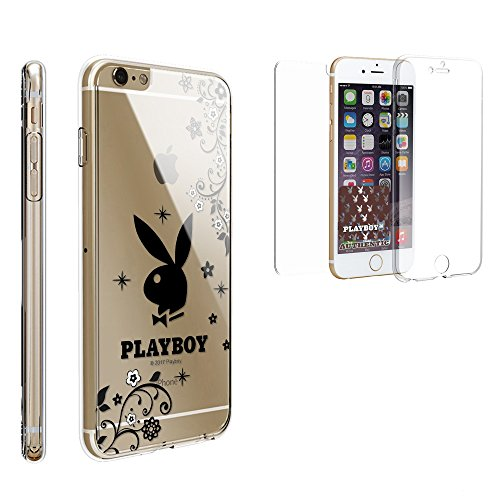 Suitable for iPhone 6 Plus Case, Trishield Gear [Trimax] Ultra Slim Clear Hybrid Built in Screen Protector Flexible Gel Cover (Authentic Licensed by Playboy) - Black Floral Playboy Bunny