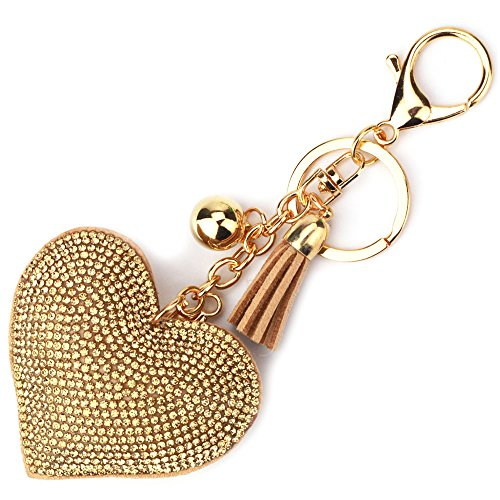 Elesa Miracle Girl Women Love Heart Tassel Keychain, Purse Bag Charm, Handbag Accessories, Car Key Chain (Gold)