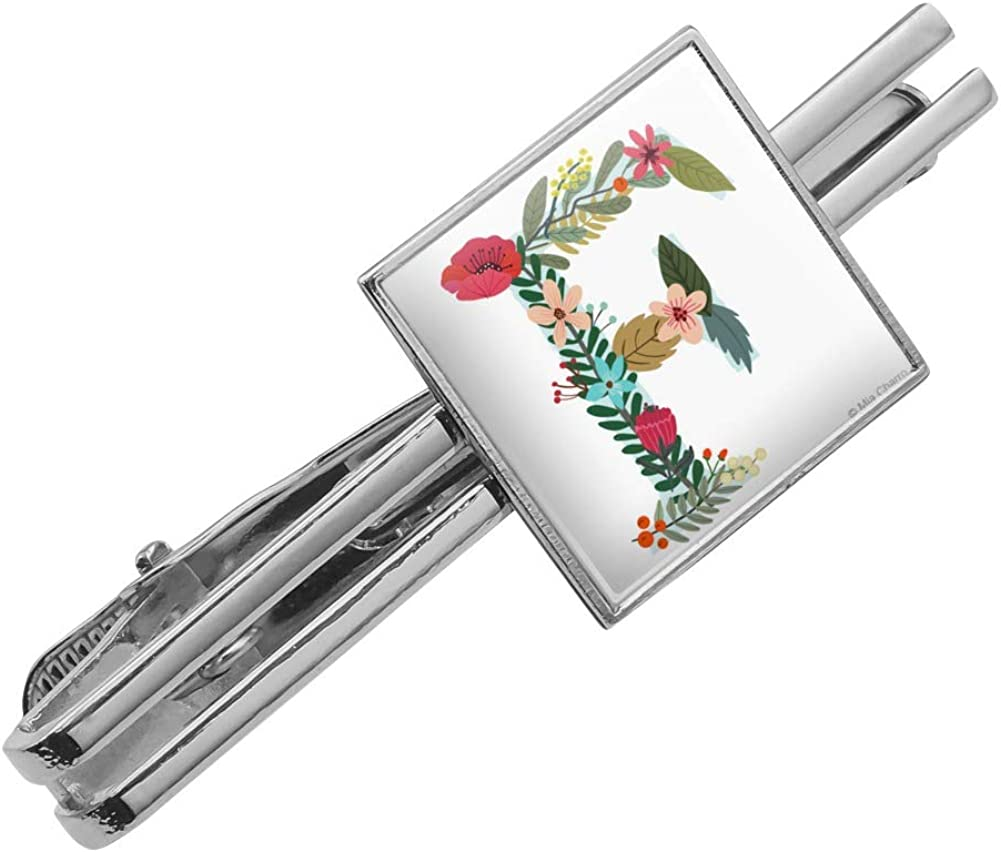 GRAPHICS /& MORE Letter F Floral Monogram Initial Square Tie Bar Clip Clasp Tack Silver or Gold