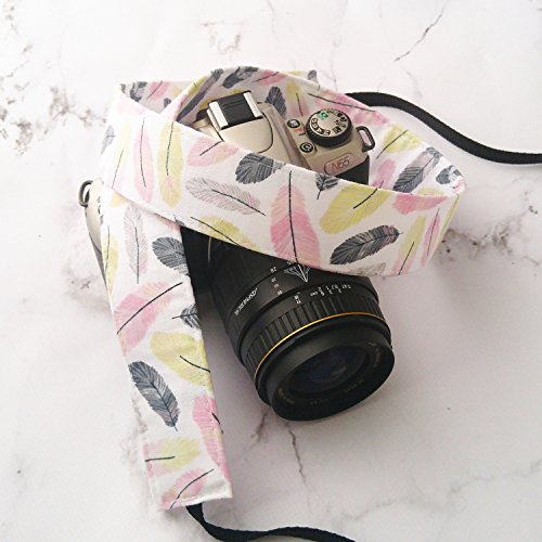 Gray-Yellow-and-Pink-Feathers-dSLR-Camera-Strap
