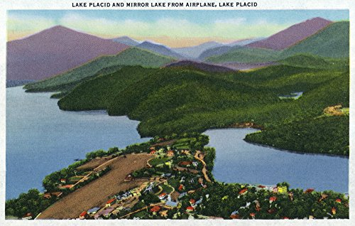 Adirondack Mts, New York - Aerial View of Lakes Placid and Mirror (24x36 SIGNED Print Master Giclee Print w/Certificate of Authenticity - Wall Decor Travel - Lake Mirror Adirondacks