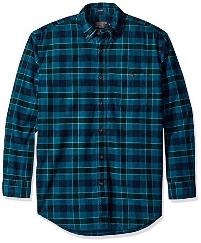 Pendleton Men's Classic Fit Wayne Corduroy Shirt, Turquois Plaid, MD