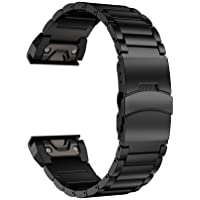 LDFAS Fenix 5X Plus Band, Sport Quick Release Easy Fit 26mm Stainless Steel Metal Bands with Safety Buckle for Garmin Fenix 5X/5X Plus/3/3HR Smartwatch