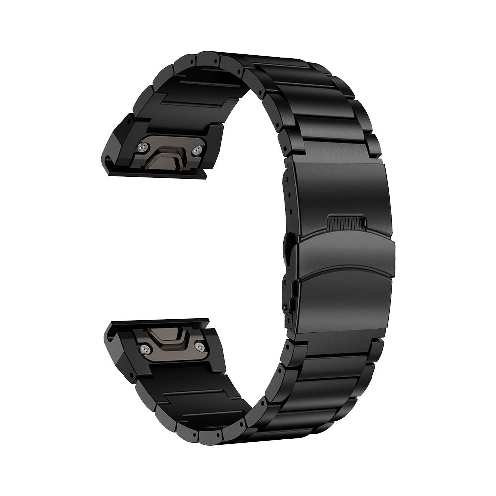 LDFAS Fenix 5X Plus Band, Sport Quick Release Easy Fit 26mm Stainless Steel Metal Bands Safety Buckle Compatible for Garmin Fenix 5X/5X Plus/3/3HR Smartwatch, Black