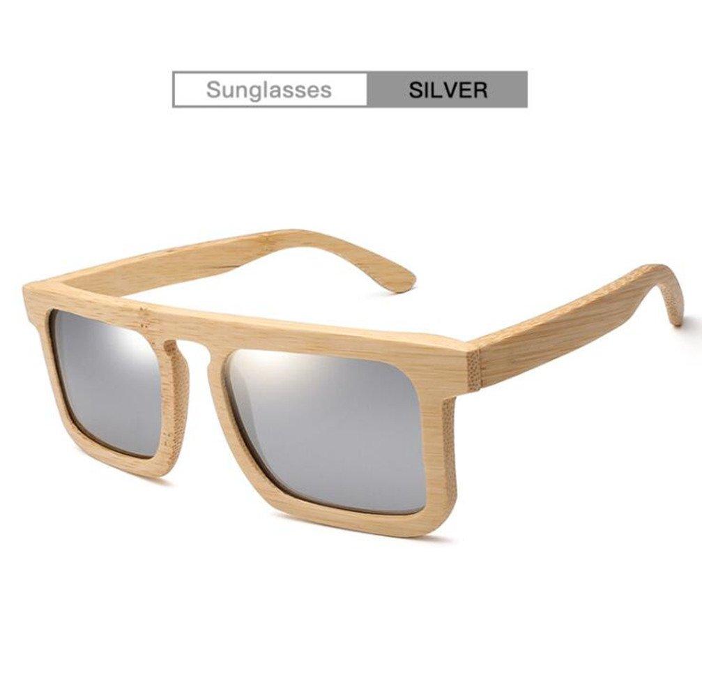 Z&HA Unisex Mode Bambus Sonnenbrille Harz Objektiv Vintage Handgefertigten Holzrahmen Anti-Fog Schattierung Polarisierte Brillen,Gray