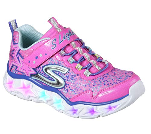 y Lights Sneaker,neon pink/multi,4 Medium US Big Kid ()