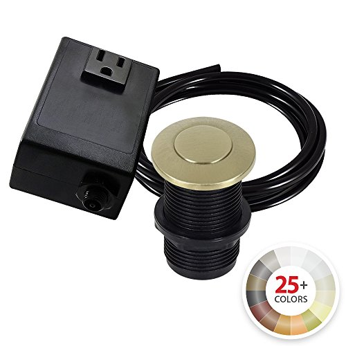 Antique Designer Series Pewter - Single Outlet Garbage Disposal Turn On/Off Sink Top Air Switch Kit in Champagne Bronze. Compatible with any Garbage Disposal Unit and Available in 25+ Finishes by NORTHSTAR DÉCOR. Model # AS010-CB