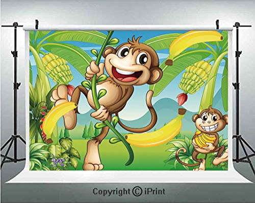 Nursery Photography Backdrops Two Monkeys Near the Banana Plant Tropical Nature Landscape Vine Funny Animals Apes Decorative,Birthday Party Background Customized Microfiber Photo Studio Props,10x6.5ft