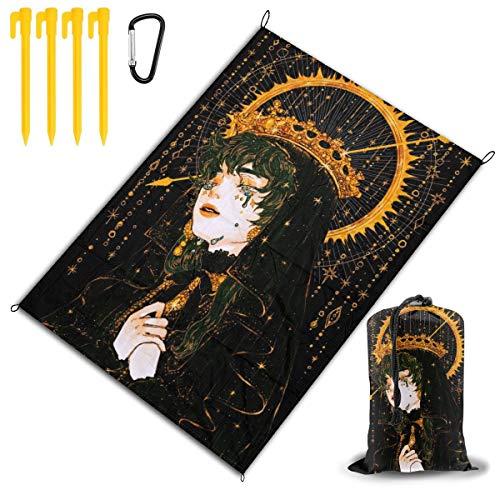 (LHLX HOME Nun Empress Hand Painted Picnic Blanket Handy Beach Mat with Waterproof Backing Anti Sand for Picnics, Beaches, Camping and Outings 78x57)