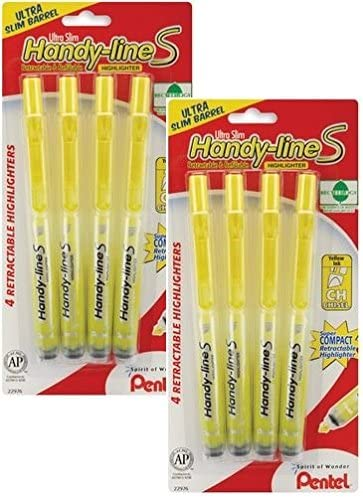 Pentel Handy-Line S retráctil subrayador, amarillo punta biselada, pack de 8: Amazon.es: Oficina y papelería