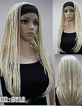 GYFUE moda 3/4 peluca con trenzas largas diadema peluca muchos colorea sintética peluca cosplay
