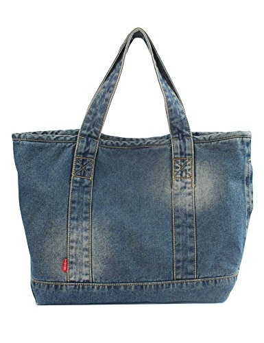 Vantoo Distressed Unisex Denim Totes Handbag Shoulder Bag with Two Pockets for Men and (Denim Purse Blue Jean)