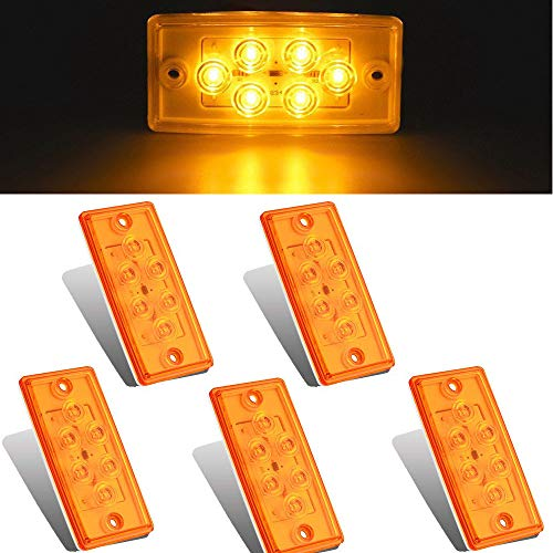 NPAUTO 5pcs Freightliner Cab Lights 6 LED Amber Roof Clearance Marker Light Rectangle Top Running Light for Freightliner Century Columbia Volvo Truck Trailer Camper [Waterproof, Flush Mount]