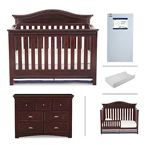 Nursery Furniture Set with Convertible Crib, Dresser, Crib Mattress, Changing Pad and Daybed/Toddler Guardrail by Simmons Kids – 5-Piece Augusta Collection in Molasses Brown