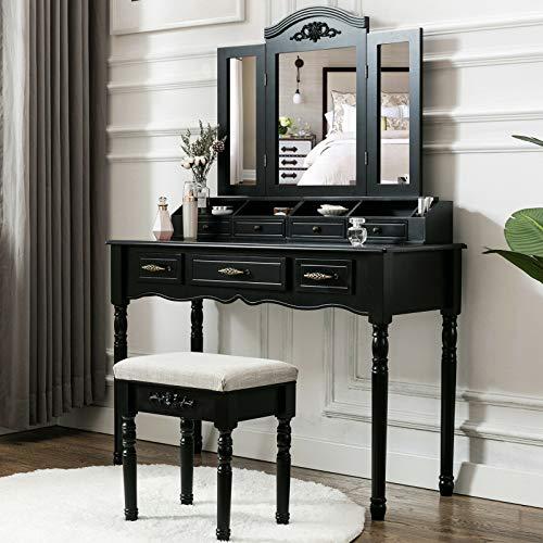 Nual_shop Vanity Makeup Dressing Table Set Folding Mirror Desk Dresser W/Stool Wood ()
