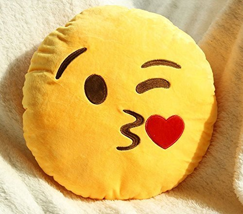 Asien Mignon Doux en Peluche Emoji Jaune Emoticon Smiley Coussin Ronde en Peluche Poupée Coussin - Embrasser