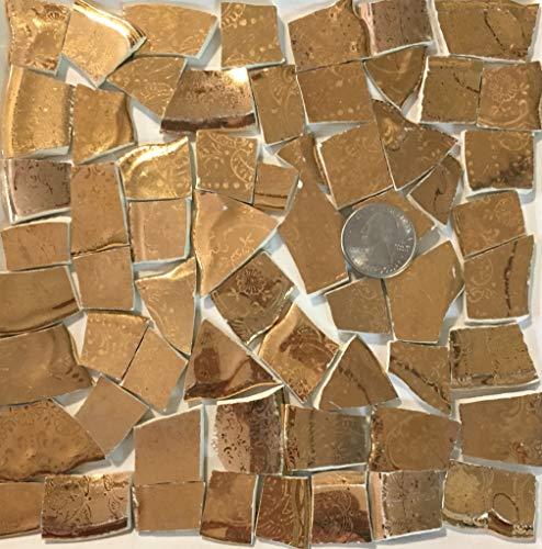Mosaic Art & Crafts Supply ~ Metallic Gold on White Fine China Tiles (B708)