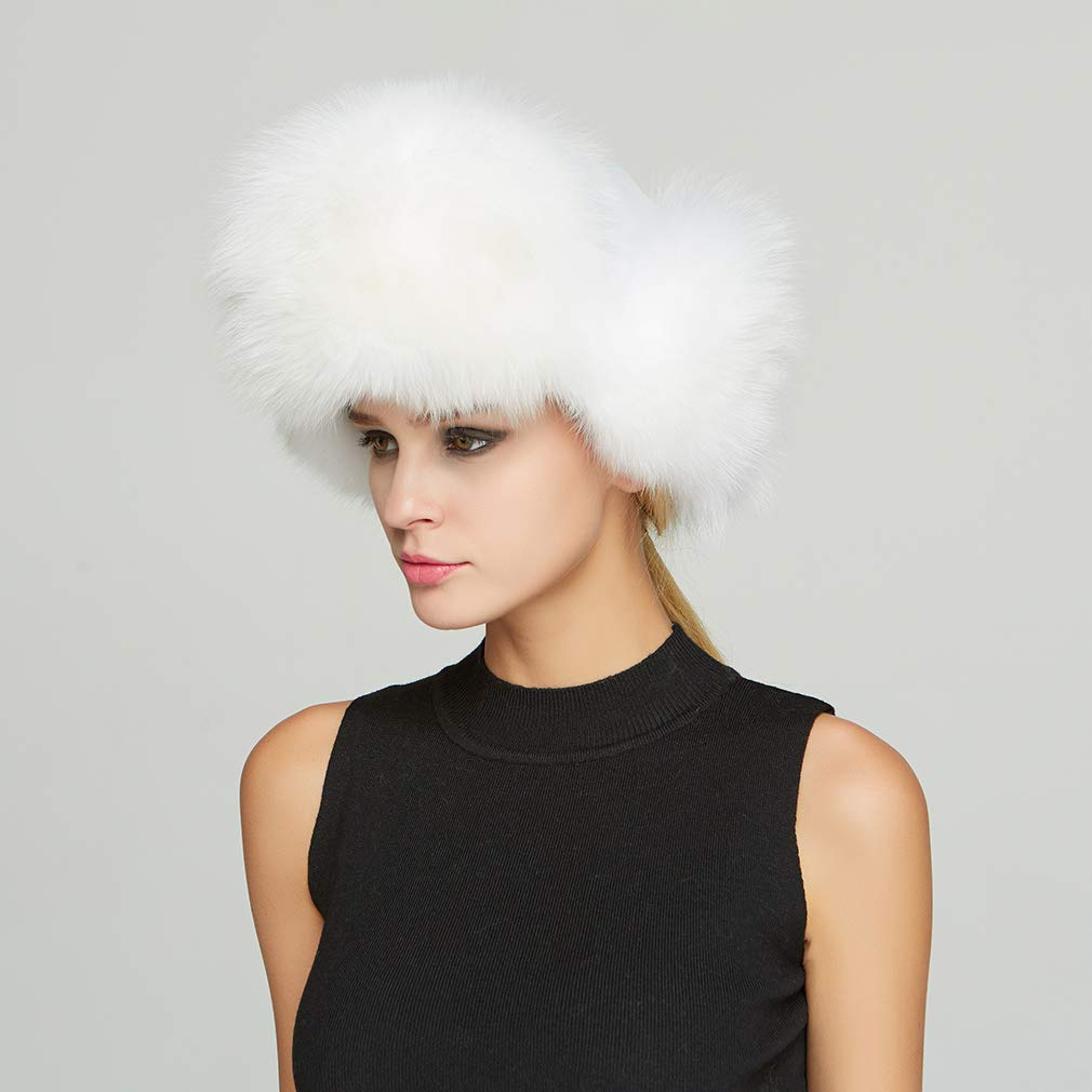 Fur Story Women's Trapper Hat with Sheep Leather Earmuffs Warm Winter Fur Hat (White) by Fur Story (Image #7)