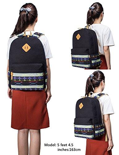 Leaper Mochila de la escuela de tela linda Bohemia Travel Mochila Laptop Bolso