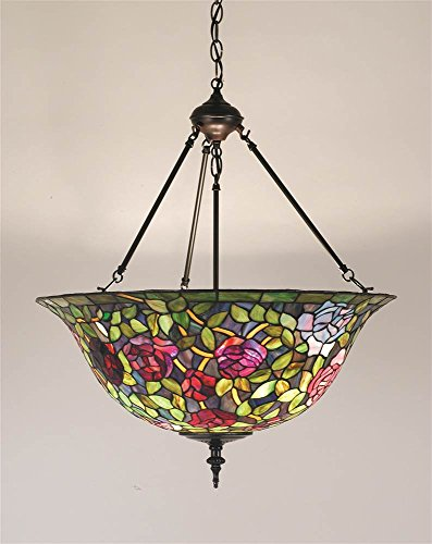 Meyda Tiffany 77786 Rosebush Inverted Pendant Light Fixture, 24