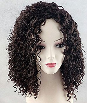 [Wigbuy Short Wet Wavy Curly African American Wigs Heat Resistant Fiber Layered for Black Women Black Hair Wig Kinky Curly Afro Wigs with Bangs(natural] (Curly Wigs For Black Hair)