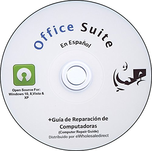 Office Suite CD en Spanish Espanol - Compatible with Microsoft Office - includes Computer Guide by ewholesaledirect - Home or Business for Students to Professionals, Runs on Windows 10 8 7 Vista