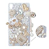 Spritech(TM 3D Handmade Fashion Girl Woman Extreme Luxury Rhinestone Design Case Beautiful Flower Bling Pumpkin Car Decor White Back Hard Caver Case for Sony Xperia Z3