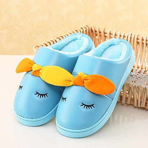 LaxBa Femmes Hommes chauds dhiver Chaussons peluche antiglisse intérieur Cotton-Padded blueChildren 25 Chaussures Slipper (longueur recommandée 21cm environ 7-9 ans)