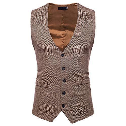 (TANGSen Men's Autumn Winter Formal Bussiness Vest Single Breasted Tuxedo Suit Casual Waistcoat Vest Jacket Top Coat Khaki)