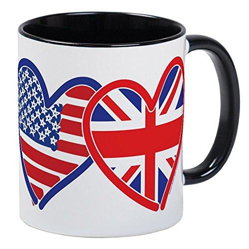 CafePress American Flag/Union Jack Flag Hearts Mug Unique Coffee Mug, Coffee Cup