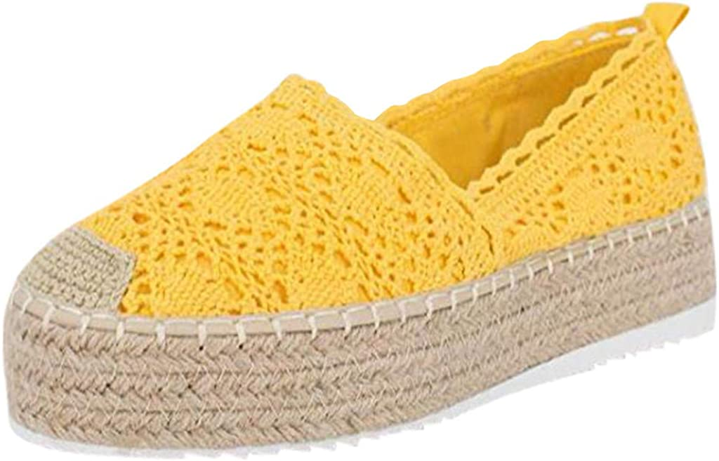 YWLINK Plataforma Hueca para Mujer Zapatos Casuales Color SóLido Transpirable CuñA Alpargatas Antideslizante CóModo Zapatos Romanos Bohemia TamañO Grande Fiesta Deportes Al Aire Libre
