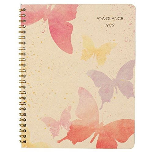 "AT-A-GLANCE Monthly Planner, January 2018 - January 2019, 6-7/8"" x 8-3/4"", Watercolors (791-800G)"
